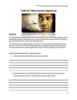 John Q. Film - Short Answer Questions