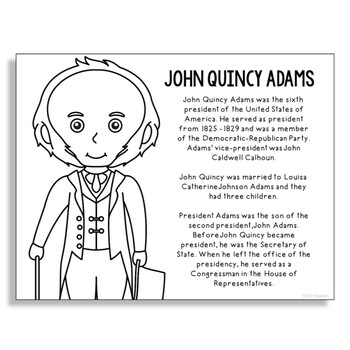 President John Quincy Adams Coloring Page Craft or Poster with Mini Biography