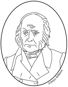 John Quincy Adams (6th President) Clip Art, Coloring Page