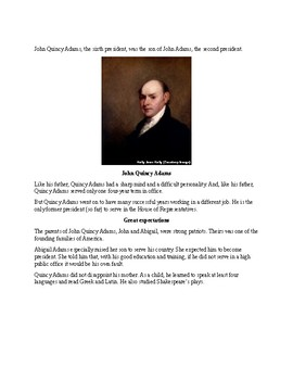 John Quincy Adams - Short Biography and Review Quiz