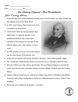 John Quincy Adams Video Guide - A&E Series The Presidents