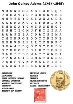 John Quincy Adams Word Search