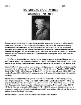 John Rennie Biography Article and (3) Assignments