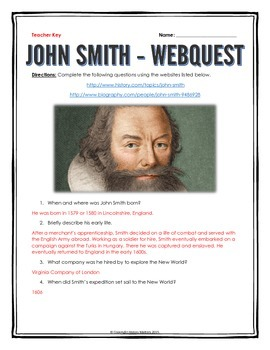 John Smith (13 Colonies) - Webquest with Key