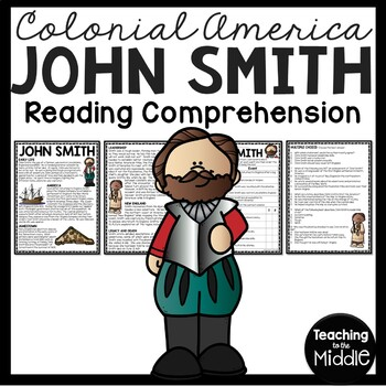 John Smith Biography Reading Comprehension Worksheet; Jamestown