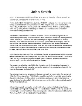John Smith Biography and Reading Comprehension