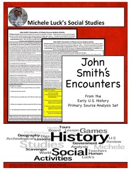 John Smith Native Encounters American Document Analysis Activity - Jamestown