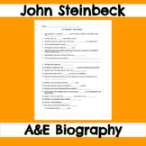 John Steinbeck - A&E Biography Fill-In-The-Blank Worksheet - Of Mice and Men