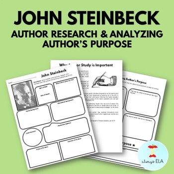 John Steinbeck - Author Study Worksheet, Author's Purpose, Author Research, Bio
