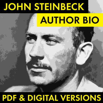 John Steinbeck Author Study Worksheet, Easy Biography Activity, CCSS