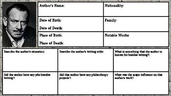 John Steinbeck Biography Assignment/Graphic Organizer