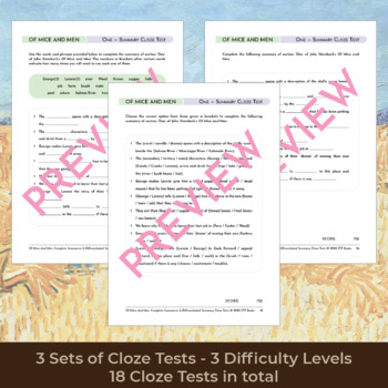Of Mice and Men Section Summaries and Summary Cloze Tests ...
