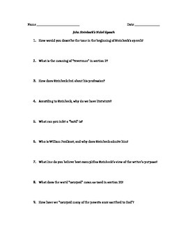 John Steinbeck's Nobel Speech (Guided Close Reading Questions)