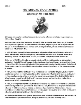 John Stuart Mill Biography Article and (3) Assignments