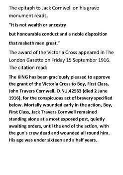 John Travers Cornwell Victoria Cross Handout