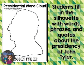 John Tyler Coloring Page and Word Cloud Activity