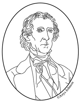 John Tyler (10th President) Clip Art, Coloring Page or Mini Poster
