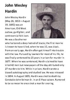 John Wesley Hardin Handout