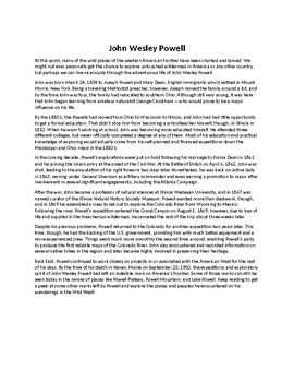 John Wesley Powell Biography and Reading Comprehension