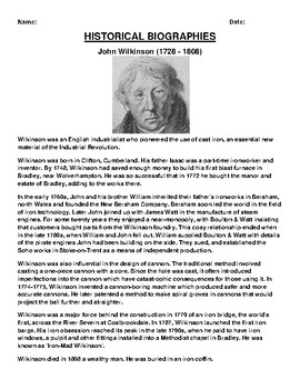 John Wilkinson  Biography Article and (3) Assignments