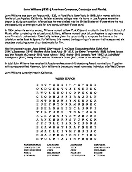 John Williams Composer Word Search