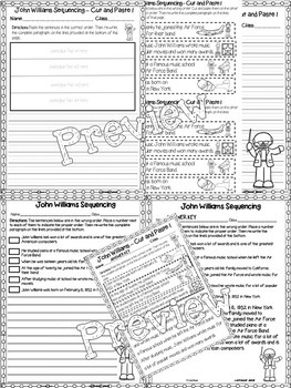 John Williams Critical Thinking Worksheets (Composer of the Month)