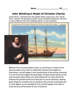 "John Winthrop's ""A Model of Christian Charity"" / Massachusetts / Puritans"