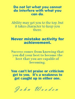 John Wooden Quotes 8x10 and 11x17