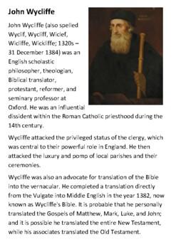 John Wycliffe Handout