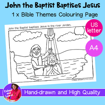 John the Baptist Coloring Pages - The baptism of Jesus | Bible ... | 350x349