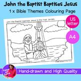 """John the Baptist/Baptism"" Bible Coloring Sheet/Colouring (Religious/Church)"