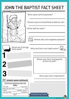 John the Baptist Factsheet Worksheet
