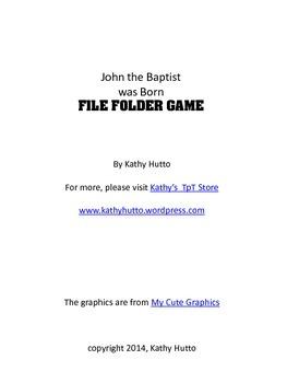 John the Baptist was Born File Folder Game (Bible Story craft)