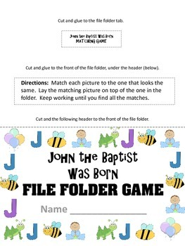 John The Baptist Was Born File Folder Game Bible Story Craft By