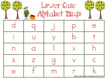 Johnny Applesee Lower Case Bingo Game