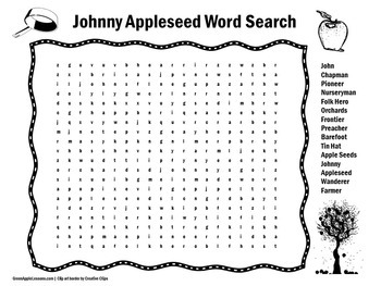 Johnny Appleseed Activity    Johnny Appleseed Word Search