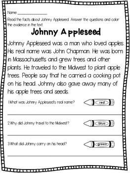Johnny Appleseed Close Reading and Activities
