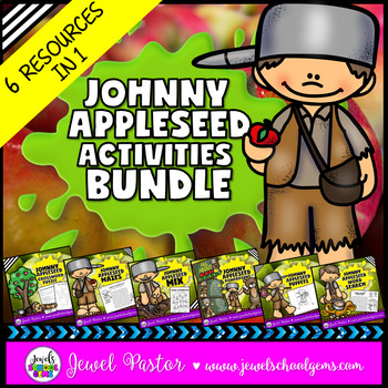Johnny Appleseed Activities BUNDLE (PowerPoint, Games, Worksheets and Crafts)