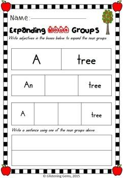 Johnny Appleseed - Expanding Noun Groups, NO PREP Printables