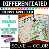Johnny Appleseed Activities Solve and Color with a Twist Math Worksheets