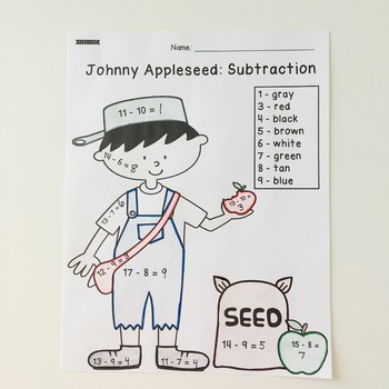 Johnny Appleseed: Color by Code Addition and Subtraction {4 Different Sheets}