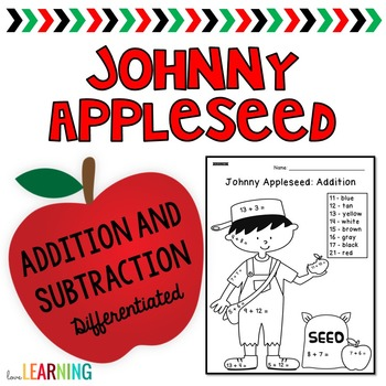 Johnny Appleseed: Color by Code Addition and Subtraction {
