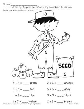 Johnny Appleseed Addition and Subtraction Color by Number
