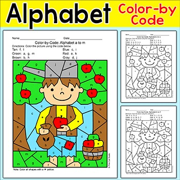 Johnny Appleseed Alphabet Color by Code Activity