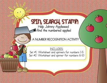 Johnny Appleseed Apple Theme - Number Recognition Printable Worksheet Activity
