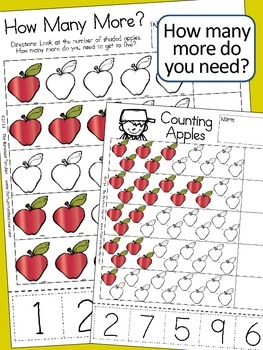 Johnny Appleseed Math - Counting Cut & Paste Activity Sheets