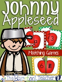 Johnny Appleseed Math - Matching Game {Alphabet Matching, Tally Marks, & More}