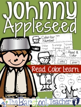 Johnny Appleseed Color Word Recognition Activity Sheets
