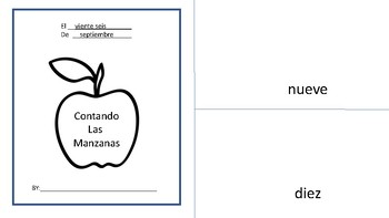 Johnny Appleseed Book Writing Numbers 1-10 in Spanish