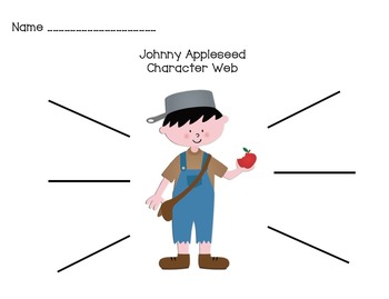 Johnny Appleseed Character Web and writing prompts with letter frame